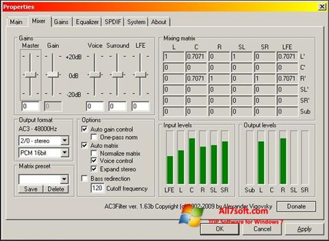 Screenshot AC3 Codec for Windows 7