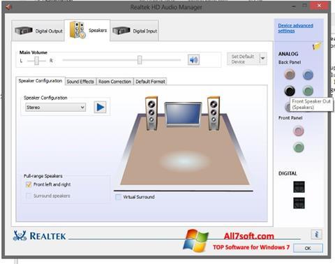 Screenshot Realtek HD Audio for Windows 7