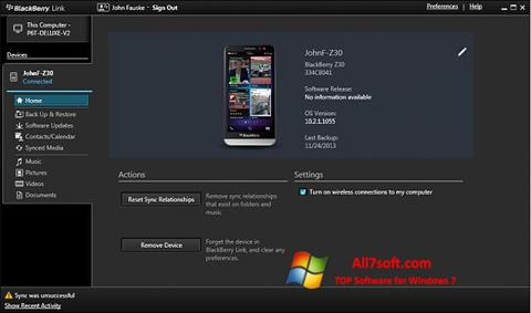 Screenshot BlackBerry Link for Windows 7