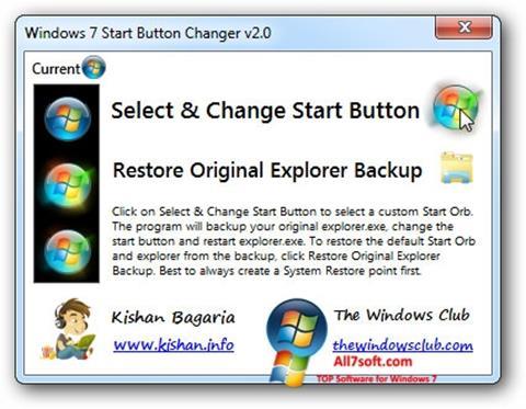 Screenshot Windows 7 Start Button Changer for Windows 7